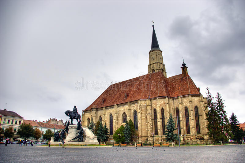 Cluj Napoca, Romania. Central square with Saint Michael's Church in Cluj Napoca, Romania royalty free stock images