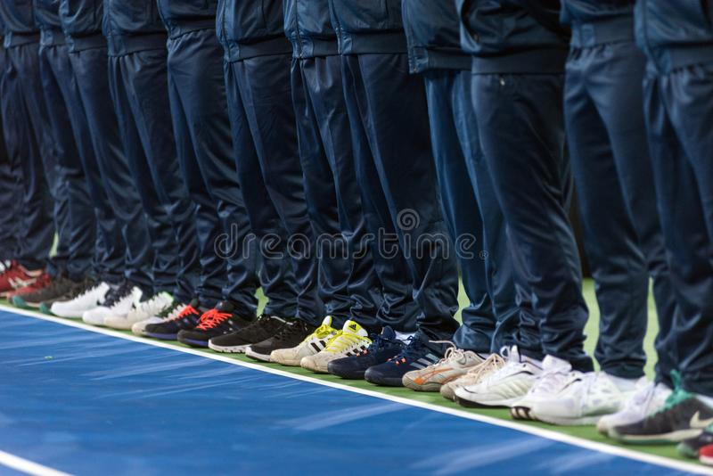 Line umpire. Tennis match opening ceremony royalty free stock photo