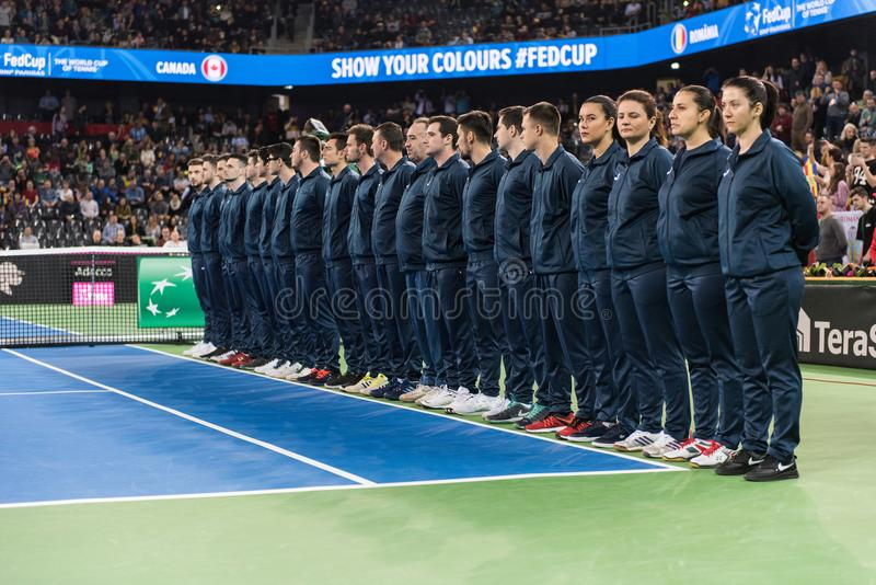 Line umpire. Tennis match opening ceremony stock image