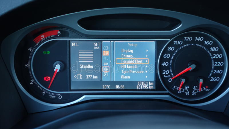 Cluj Napoca/Romania - July 03, 2017: Ford Mondeo Titanium - year 2009,. Ford convers lcd panel display, multiple information pictograms, gauges on, adaptive royalty free stock images