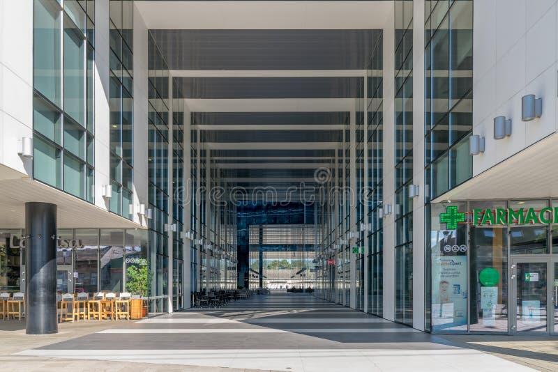CLUJ-NAPOCA, ROMANIA - September 16, 2018: The Office building, Cluj-Napoca's new business hub. Blue color day environment horizontal kolozsvar modern outdoor royalty free stock photography
