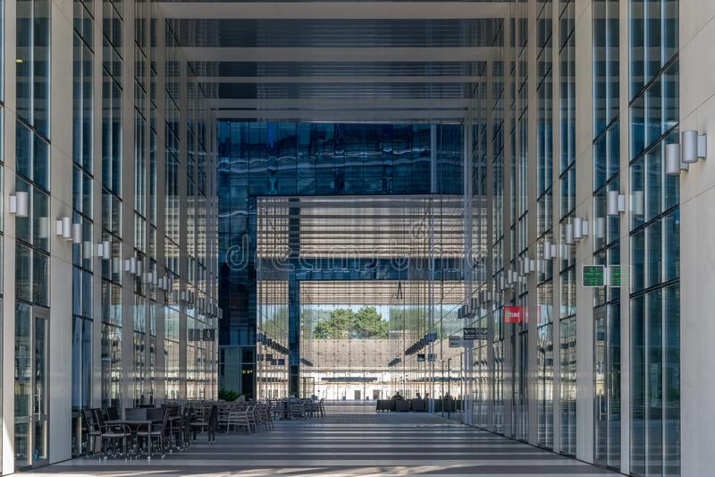 CLUJ-NAPOCA, ROMANIA - September 16, 2018: The Office building, Cluj-Napoca's new business hub. Blue color day environment horizontal kolozsvar modern outdoor royalty free stock image