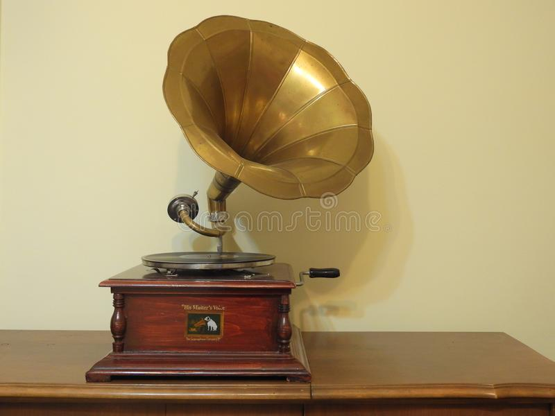 Rare His Masters Voice Gramophone stock images