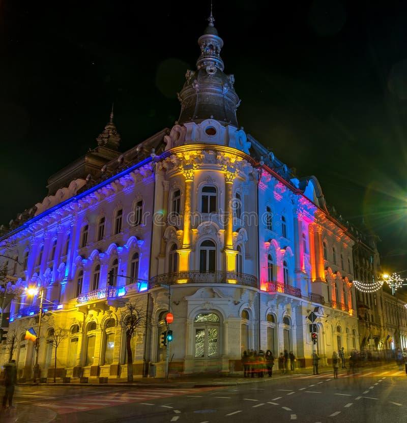 CLUJ-NAPOCA, ROUMANIE - 1er décembre 2018 : Beau coucher du soleil à Cluj-Napoca, Roumanie : New York ou hôtel continental à Cluj images stock