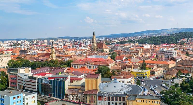 Cluj Napoca upperview arkivfoton