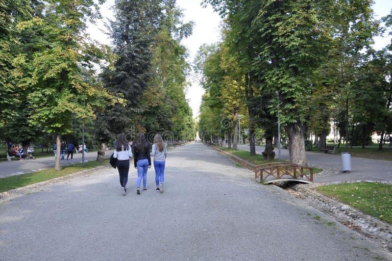 cluj RO, Wrzesień 24th: Central Park Główna aleja w cluj od Transylvania regionu w Rumunia fotografia stock