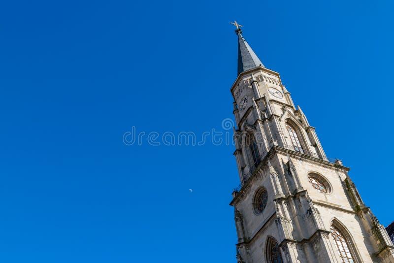 Cluj, Roemenië St Michael& x27; s Kerk in cluj-Napoca, Transsylvanië royalty-vrije stock afbeeldingen