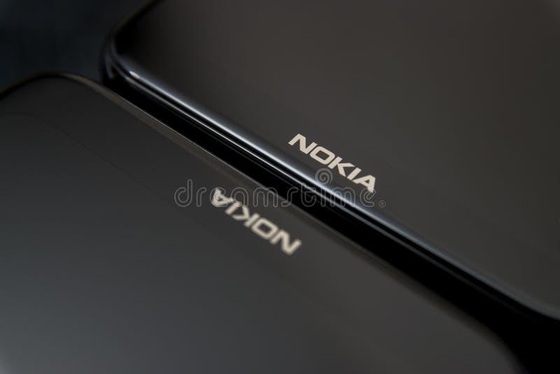 Cluj, Roumanie - 13 mai 2019 : Smartphone de Nokia fait par Nokia Corporation, télécommunication multinationale finlandaise, l'in photographie stock