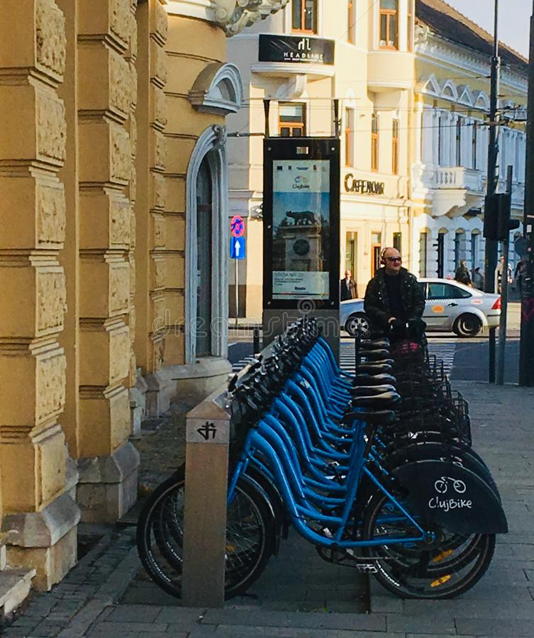 Bike station, Cluj-Napoca, Transylvania royalty free stock images