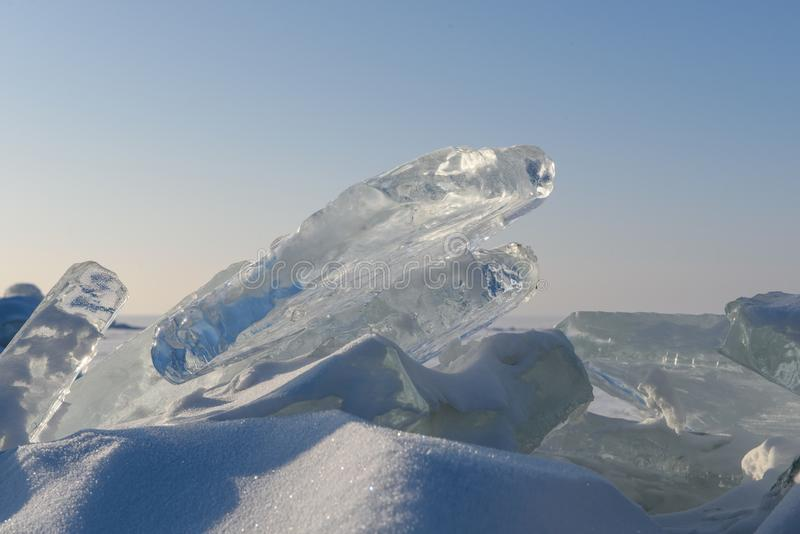 Pieces of ice lie in the sun. royalty free stock photos
