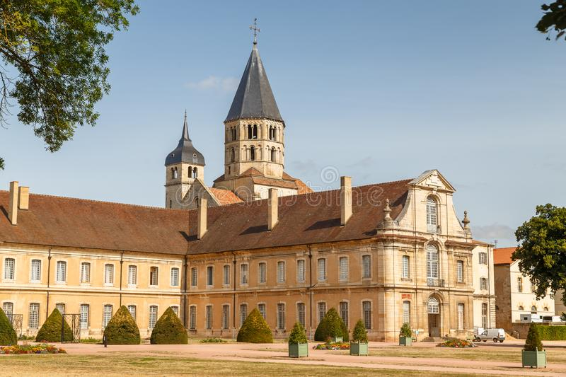 Medieval abbey in the historic centre of Cluny town, France. CLUNY / FRANCE - JULY 2015: Medieval abbey in the historic centre of Cluny town, France stock photo