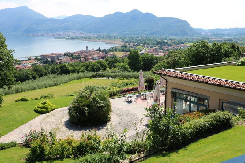 Clusane, Lake Iseo, Italy. Hotel with a view on Clusane, a small historic village on the southern end of lake Iseo, the fourth largest lake in Lombardy, Italy stock images