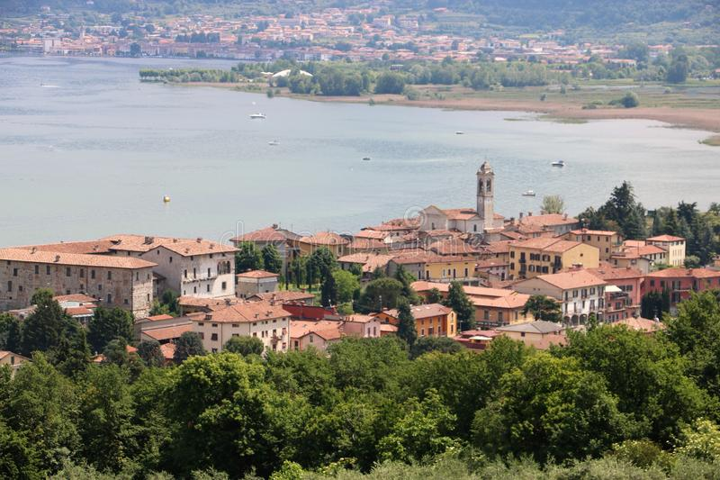 Clusane, Lake Iseo, Italy. View on Clusane, a small historic village on the southern end of lake Iseo, the fourth largest lake in Lombardy, Italy. There are stock image