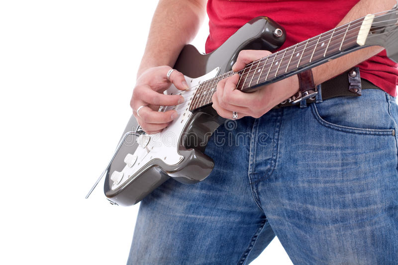 Cluseup of a rock guitarist royalty free stock photography