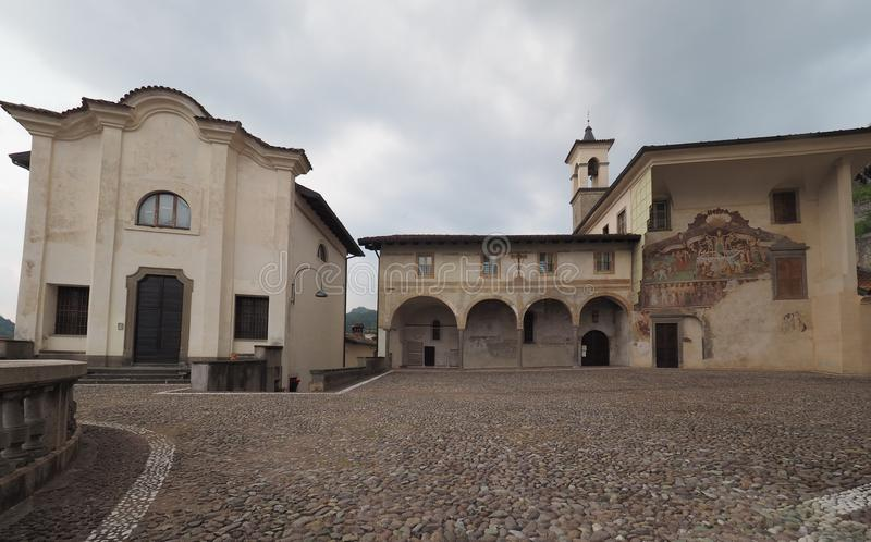 Clusone Bergamo, Lombardije, Italië - Oratoriumdei Disciplini: Dans van de Dood stock foto's