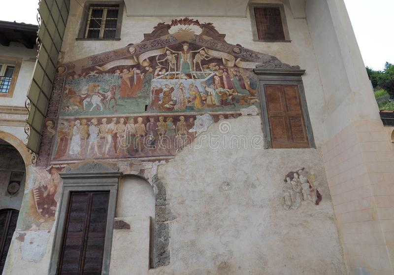 Clusone Bergamo, Lombardije, Italië - Oratoriumdei Disciplini: Dans van de Dood royalty-vrije stock afbeelding