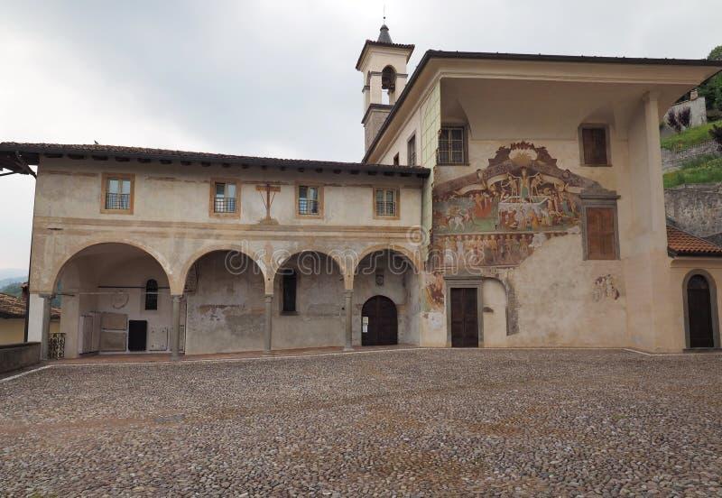 Clusone Bergamo, Lombardije, Italië - Oratoriumdei Disciplini: Dans van de Dood stock afbeeldingen