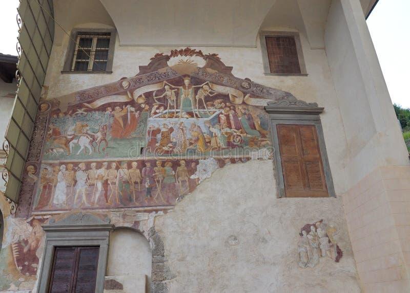Clusone Bergamo, Lombardy, Itália - dei Disciplini do oratório: Dança da morte fotos de stock royalty free