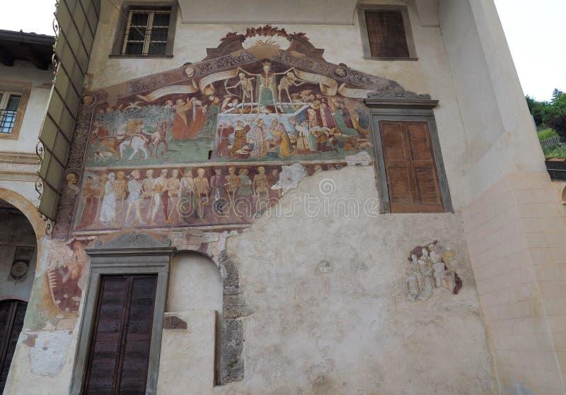 Clusone Bergamo, Lombardy, Itália - dei Disciplini do oratório: Dança da morte imagem de stock royalty free