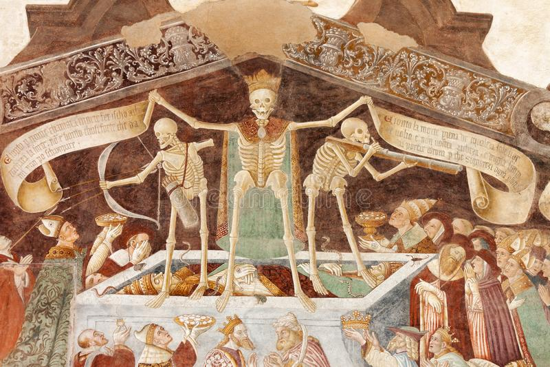Clusone, Fresko, Tanz des Todes stockbild