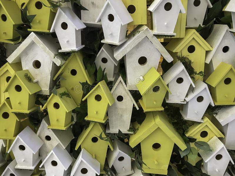 Cluster of birdhouses stock images