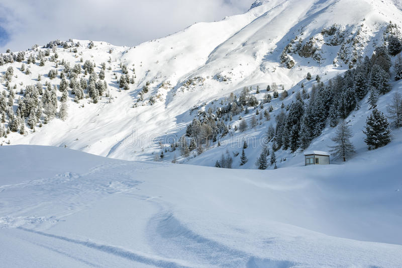Cluster of chalets on a snowy mountain slope. Scenic view of a cluster of chalets amongst evergreen trees on a snowy alpine mountain slope below rocky mountain royalty free stock photos