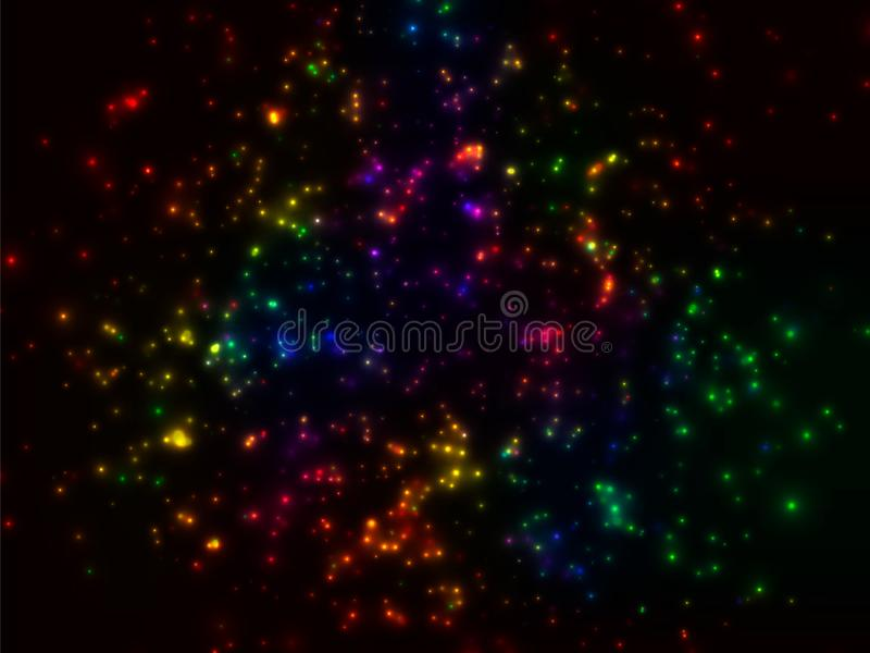 A cluster of glowing lights of different sizes. Starlight. The city lights at night. On black background. Vector. A cluster of glowing lights of different sizes royalty free illustration