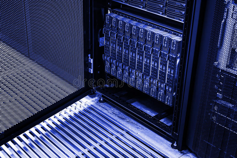 Cluster of hard drives rack stock photos