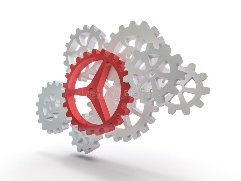 A cluster of interlocking metal gears. 3D stock illustration