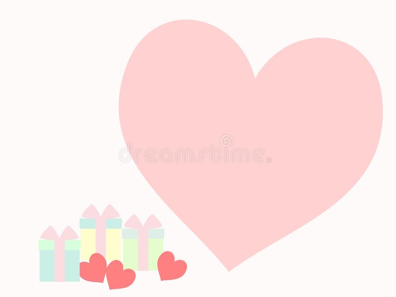 Cluster of lovely gift boxes and three little pink hearts on pastel color tone. stock illustration