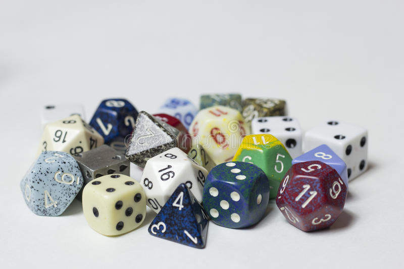 Cluster of mixed dice stock photography