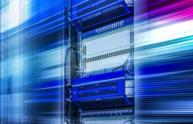 Cluster in server room speed light line motion blur 3d rendering stock illustration