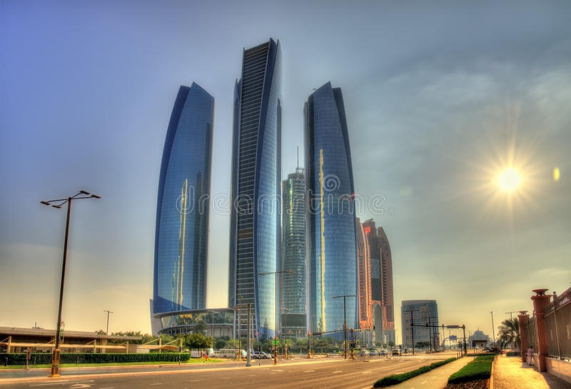 Cluster of skyscrapers in Abu Dhabi stock photos