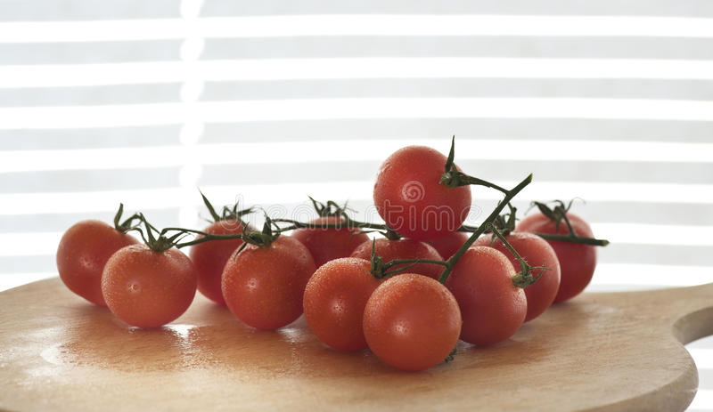 Cluster of tomatoes. With water droprs royalty free stock photography