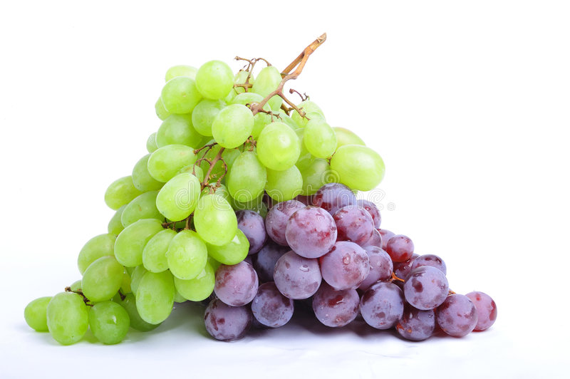 Clusters of grapes on white stock image