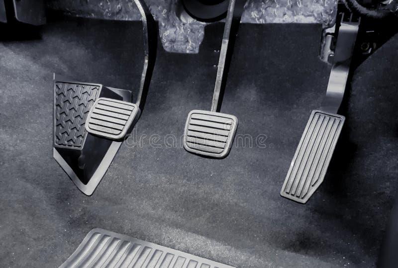 Clutch, brake, accelerator of a car stock photos