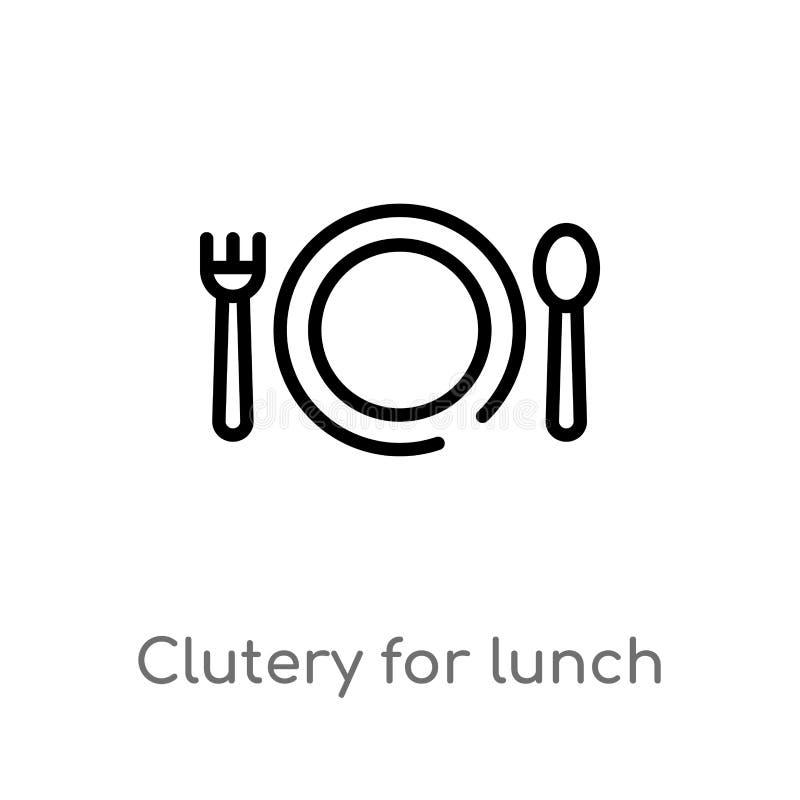 clutery del profilo per l'icona di vettore del pranzo linea semplice nera isolata illustrazione dell'elemento dal concetto del te illustrazione vettoriale