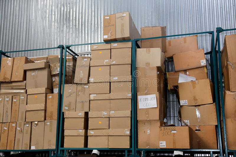Clutter stock cardboard packing boxes in the factory. Clutter stock cardboard packing boxes in factory royalty free stock photos