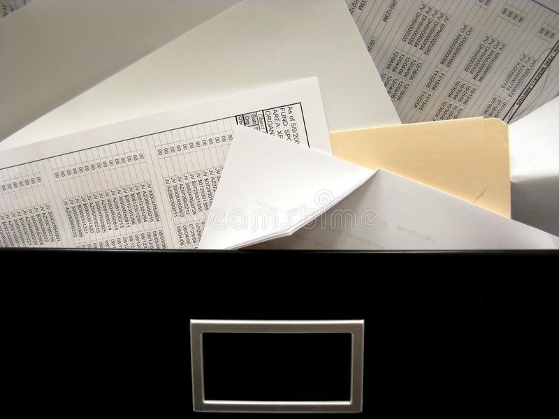 Cluttered File Drawer Overflow Stock Image