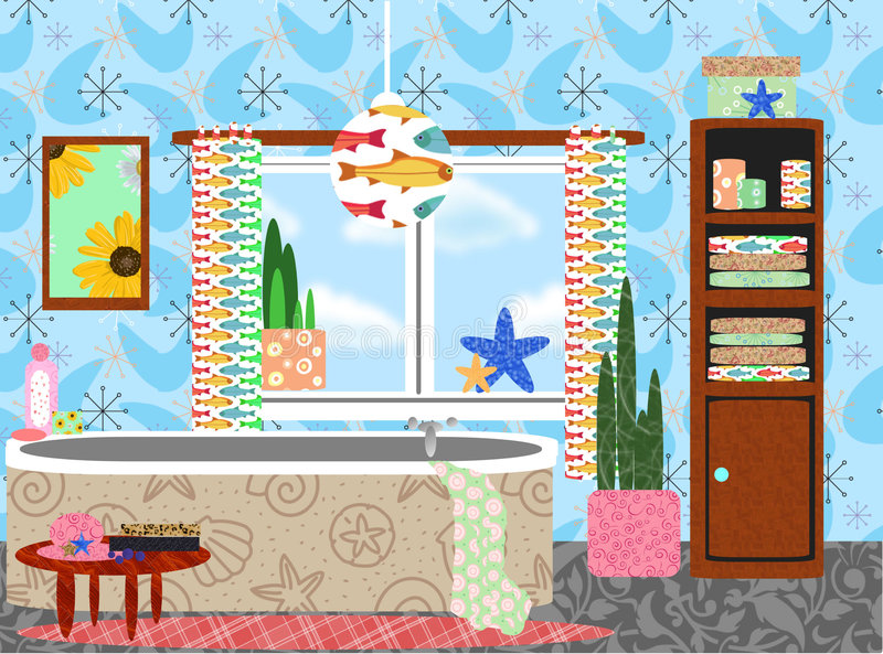 Cluttered funky retro bathroom. Colorful happy abstract graphic illustration showing a retro bathroom