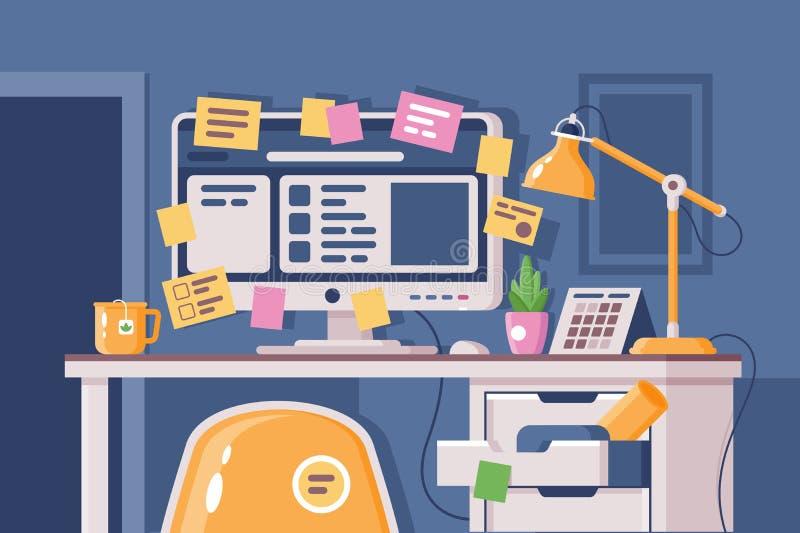 Cluttered miejsce pracy z komputerem klajstrującym z majcherami royalty ilustracja