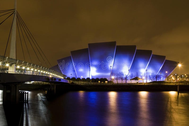 SECC (Scottish Exhibition and Conference Centre) in Glasgow Scotland at night royalty free stock images