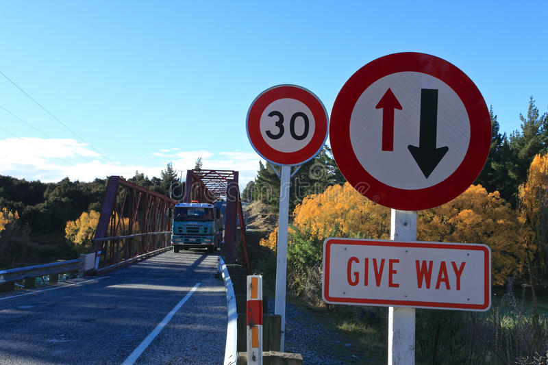 Clyde Bridge on the Clutha River,South Island New Zealand. stock image