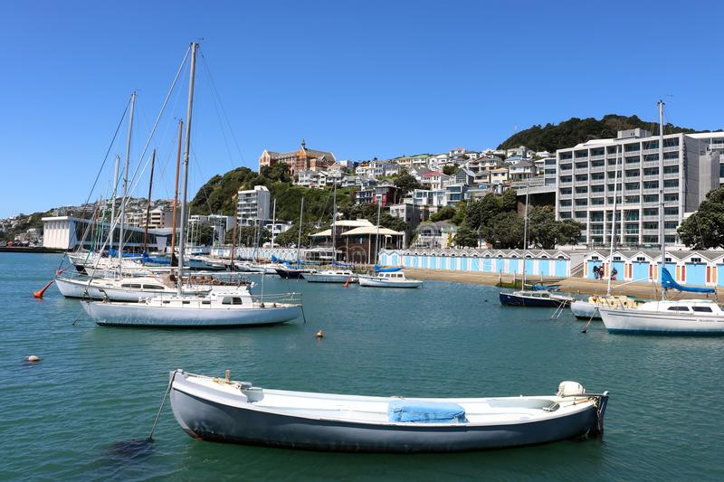 Clyde Quay Marina, boat sheds, Oriental Bay Wellington. View of yachts in Clyde Quay Marina, Oriental Bay with the boat sheds on the side of Oriental Bay stock image