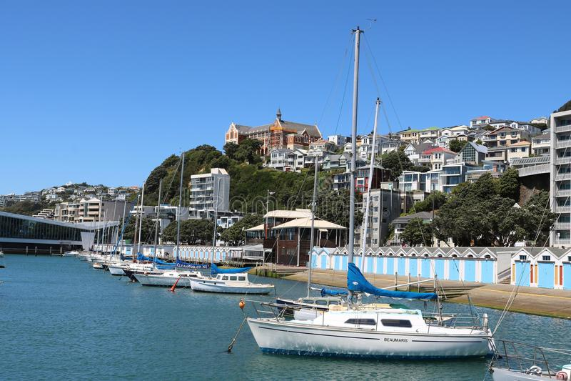 Clyde Quay marina, boat sheds, Oriental Bay Wellington. View yachts in Clyde Quay Marina, Oriental Bay with the Boatsheds on the side of Oriental Bay, Wellington stock photography