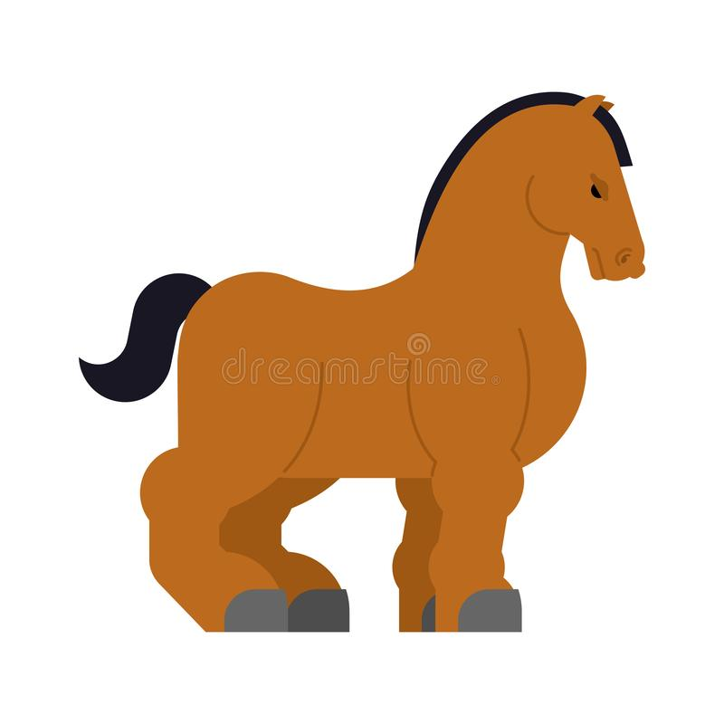 Clydesdale Strong heavy horse. Draft Shire Horse. Power big steed. Cartoon animal vector vector illustration