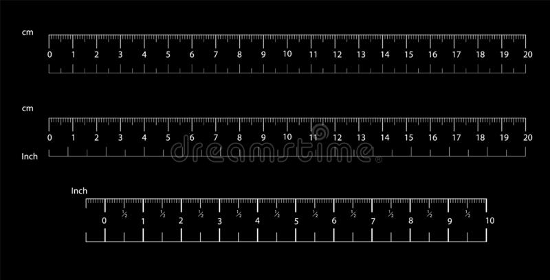 统治者移动和公尺统治者 测量的工具 厘米和英寸刻度尺cm度规显示 a的标度 向量例证