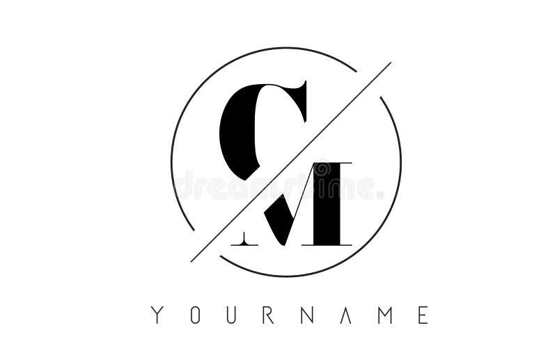 Cm-Brievenembleem met Cutted en Gesneden Ontwerp stock illustratie