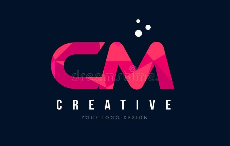 CM C M Letter Logo com baixo conceito cor-de-rosa poli roxo dos triângulos ilustração stock