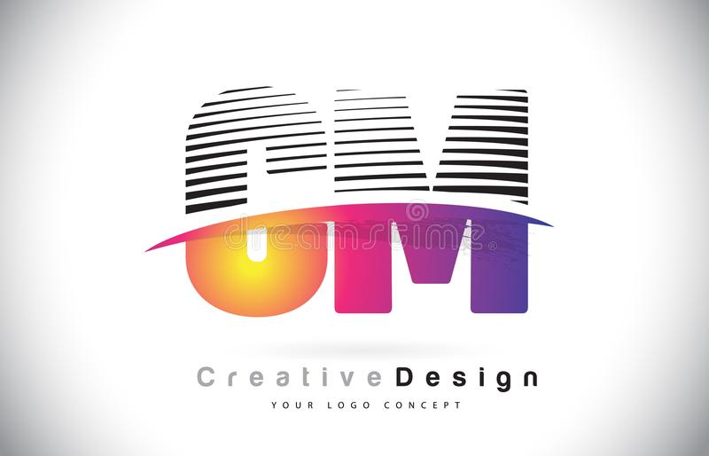 Cm C M Letter Logo Design With Creative Lines en Swosh in Purpl vector illustratie
